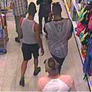 Handout CCTV photo by West Mercia Police of three men, who police are looking for in connection to a suspect acid attack to a three-year-old boy in Home Bargains on Shrub Hill Retail Park, Tallow Hill, Worcester Photo: West Mercia Police/PA Wire