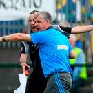 Roscommon manager Kevin McStay remonstrates with an official during the GAA Football All-Ireland Senior Championship Quarter-Final Group 2 Phase 2 match between Roscommon and Donegal at Hyde Park in Roscommon. Photo by David Fitzgerald/Sportsfile