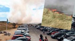 Holidaymakers were forced to evacuate due to a fire at Curracloe beach