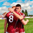 Barry McHugh, right, and Peter Cooke of Galway celebrate