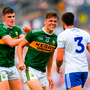 Seán O'Shea, left, and David Clifford of Kerry taunt Drew Wylie of Monaghan