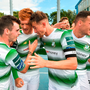 Gary Shaw, second from left, celebrates with his Shamrock Rovers team-mates