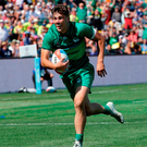Ireland's Jimmy O'Brien in action at the Rugby World Cup Sevens in San Francisco. Photo: Jeff Chiu/AP