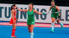 Deirdre Duke celebrates scoring her second and Ireland's third goal against the USA in the Women's Hockey World Cup. Photo: Christopher Lee/Getty Images