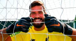 Alisson is likely to wear the Liverpool jersey for the first time in Dublin friendly against Napoli. Photo: Andrew Powell/Getty Images