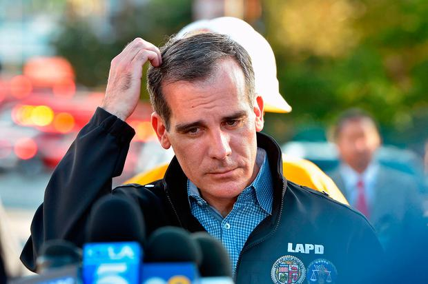 Mayor of Los Angeles Eric Garcetti at the scene. Photo: Getty Images