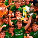 Meath minor captain Matthew Costello celebrates with his team-mates. Photo by Piaras Ó Mídheach/Sportsfile