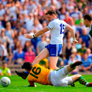 Conor McManus fires the ball past Kerry goalkeeper Brian Kelly for the Monaghan goal as defenders Mark Griffin and Paul Murphy look on. Photo by Brendan Moran/Sportsfile