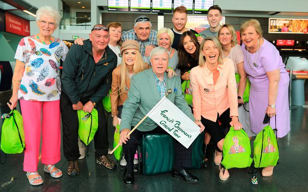 Francis Brennan and his fellow travellers at Dublin Airport before jetting off to South Africa for his latest Grand Tour. Picture: Gerry Mooney