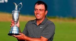 Italy's Francesco Molinari with the The Claret Jug after winning The Open Championship at Carnoustie . Photo: Richard Sellers/PA