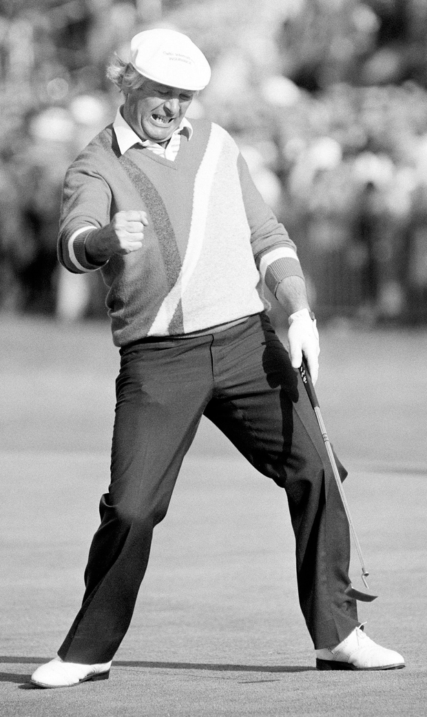 Christy O'Connor Jnr holes a putt on the last green during the114th Open Championship played at Royal St Georges Golf Club in 1985. Photo: Peter Dazeley/Getty Images