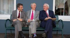 MacGill Summer School director Joe Mulholland (centre) relaxes with French Ambassador Stéphane Crouzat and former Taoiseach Bertie Ahern ahead of the opening of the festival in Glenties, Co Donegal. Photo: North West Newspix