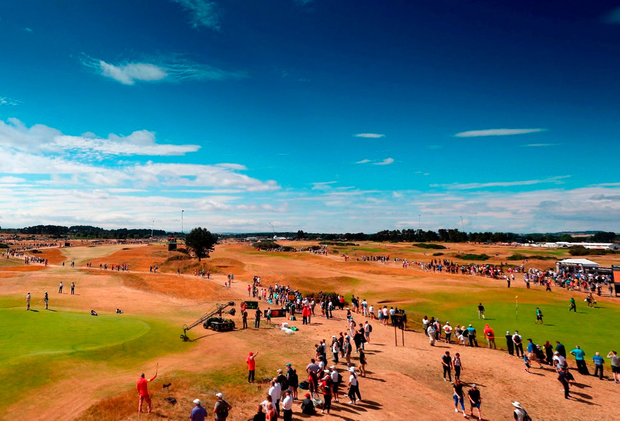 Carnoustie in all its glory during the final round of the Open Championship yesterday. Photo: David Davies/PA