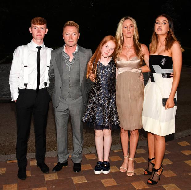 Jack Keating, Ronan Keating, Ali Keating, Missy Keating and Storm Keating at the Marie Keating Golf Classic Dinner 2018 at The K Club