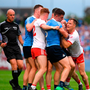 Tyrone and Dublin tussle during the GAA Football All-Ireland Senior Championship