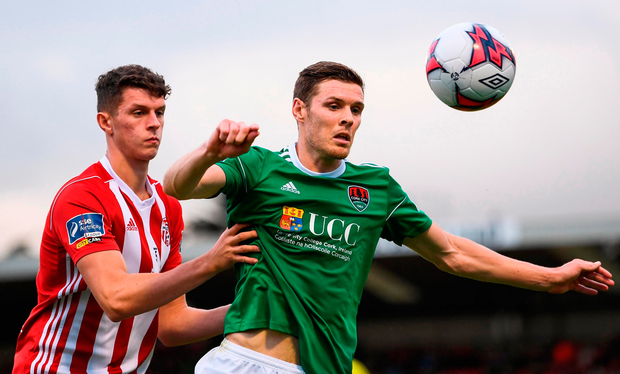 Cork City's Garry Buckley in action against Eoin Toal of Derry. Photo: Stephen McCarthy/Sportsfile