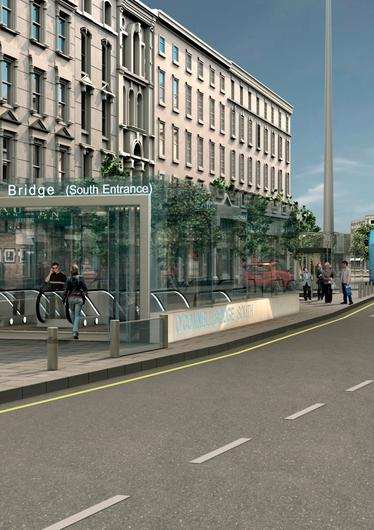 An artist's impression of how an entrance to the MetroLink might look on O'Connell Street.