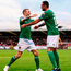 Damien Delaney, right, celebrates with his Cork City team-mate Karl Sheppard, after scoring his side's fourth goal