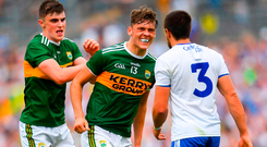 Kerry young guns Seán O'Shea (left) and David Clifford confront Monaghan's Drew Wylie in Clones on Sunday. Photo: Sportsfile