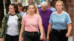 Jessie, Gillian and Hayley, sisters of murdered Amy. Photo: Michael Mac Sweeney/Cork Courts