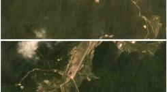 A combination of two satellite images taken on June 22, 2018 (top) and July 22, 2018 show activity at the Sohae rocket launch site in North Korea. Planet Labs Inc/Handout via REUTERS
