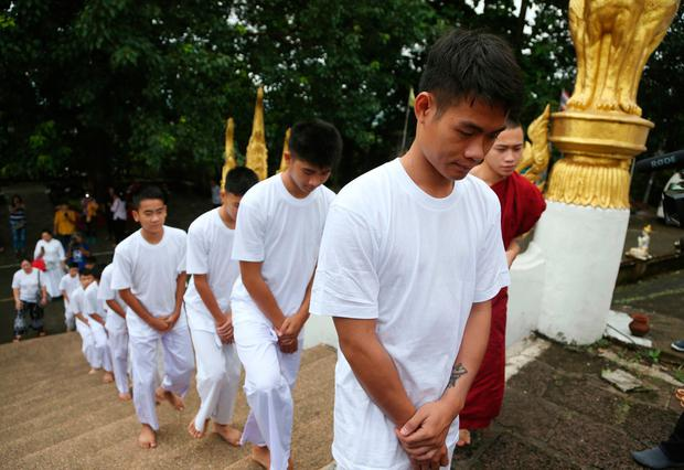 Boys rescued from Thai cave become Buddhist novices