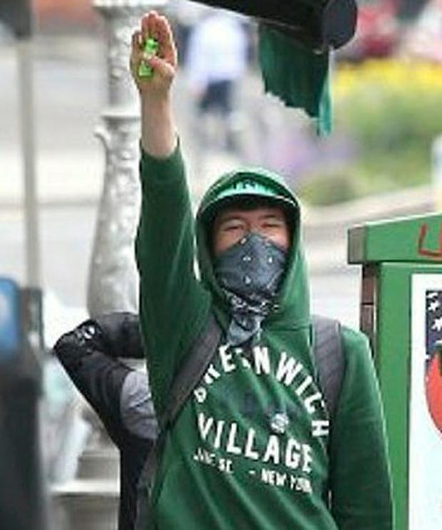 Eoin Berkeley pictured giving a Nazi salute Pic: Collins Courts