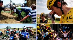 Clockwise from top left: A gendarme spraying tear gas at a farmers' protest; Race leader Geraint Thomas tries to clear the gas from his eyes; A protester is detained and France's Julian Alaphilippe celebrating his stage win yesterday. Photos: Getty Images