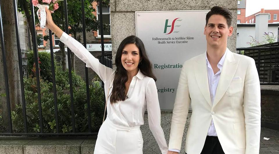 Hannah Devane and Nemanja Vukanic tie the knot in Dublin's registry office ahead of their destination wedding in September