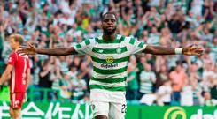 Odsonne Edouard celebrates scoring his side's third goal of the game during the UEFA Champions League second qualifying round, first leg match at Celtic Park, Glasgow.