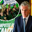 John Delaney and (inset) Cork City lift the League of Ireland trophy last season