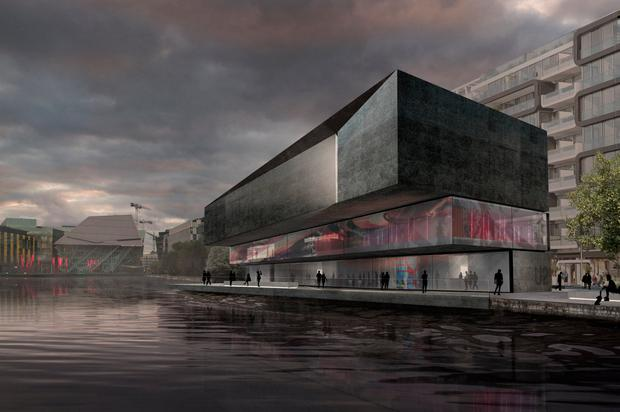 An artist's impression of how the U2 visitor centre in the Dublin Docklands would look when it is built