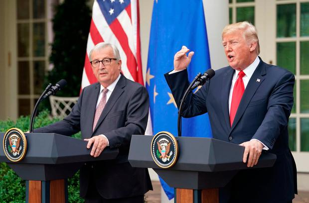 Jean-Claude Juncker and Donald Trump in the Rose Garden of the White House. Photo: AP/Pablo Martinez Monsivais