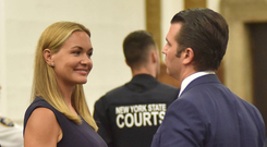 Donald Trump Jr and his wife Vanessa speak after a divorce hearing at the New York State Supreme Courthouse. Photo: Reuters