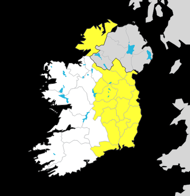 The counties affected by the yellow warning. Photo: Met Eireann