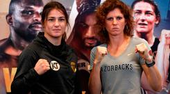 Katie Taylor and Kimberly Connor pose after the press conference