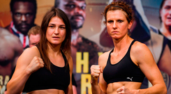 Katie Taylor and Kimberly Connor at the weigh in yesterday ahead of their WBA & IBF World Lightweight Championship bout in London tonight. Photo by Stephen McCarthy/Sportsfile