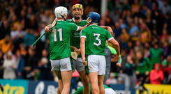 Limerick's Kyle Hayes (left), Dan Morrissey (centre) and Mike Casey have played an important role in the county's run to this year's All-Ireland semi-final. Photo by Ray McManus/Sportsfile