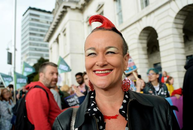 28 Jul 2018; Rhonda Donaghey, from Labour Women, taking part in the first Trans Pride March in Dublin. Customs House Quay, Dublin. Picture: Caroline Quinn