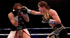 Katie Taylor in action with Kimberly Connor