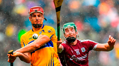 Galway's Cathal Mannion attempts to put pressure on Clare's John Conlon during yesterday's All-Ireland hurling semi-final in Croke Park. Photo: David Fitzgerald. Photo: David Fitzgerald/Sportsfile
