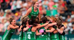 Ireland captain Katie Mullan jumps for joy after her team's victory over India on Thursday. Photo: Getty Images