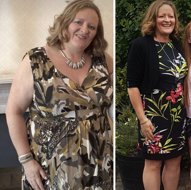 Penny Roche, before and after she lost six stone.