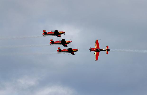 29/7/18 ***NO REPRO FEE*** The Royal Jordanian Falcons pictured on Saturday at the Bray Air Display, part of Aviation Ireland weekend which is supported by the Irish Aviation Authority (IAA). Pic: Marc O'Sullivan
