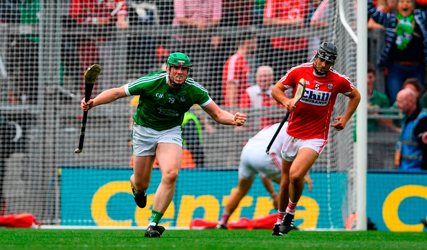Shane Dowling of Limerick celebrates after scoring his side's second goal during the GAA Hurling All-Ireland Senior Championship semi-final match between Cork and Limerick at Croke Park in Dublin.