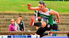 Thomas Barr of Ferrybank AC storms to his eighth national title in yesterday's men's 400m hurldes at Morton Stadium in Santry. Photo: Sportsfile