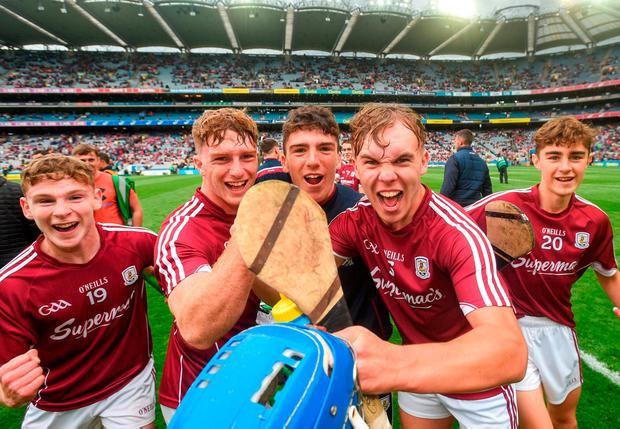TRIUMPHANT TRIBE: Galway players celebrate their All-Ireland MHC semi-final victory. Photo: David Fitzgerald/Sportsfile