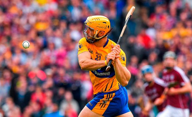 THE EQUALISER: Clare's Jason McCarthy fires over the equalising score late in extra-time of Saturday's All-Ireland SHC semi-final at Croke Park. Photo: Ray McManus/Sportsfile