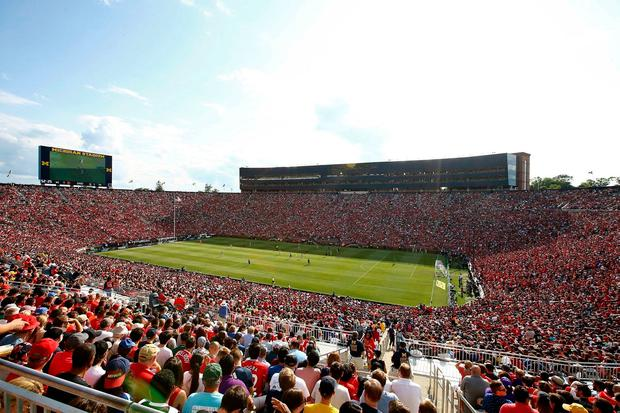 Fans packed into the 115,000-capacity University of Michigan stadium for the match between Liverpool and Manchester United. Photo: AP