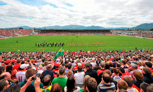A general view of Fitzgerald Stadium as both teams walk during the pre-match parade. Munster GAA Football Senior Championship Final, Kerry v Cork, Fitzgerald Stadium, Killarney, Co. Kerry. Photo: Sportsfile